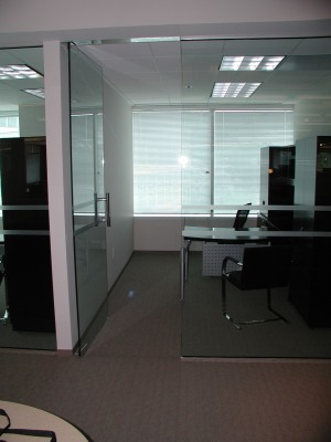 Glass Partition with Stripes of Film